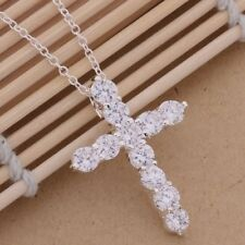 New 925 Sterling Silver Plated Cross Full Crystal Rhinestone Pendant Necklace