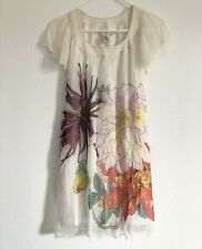 Max Studio Silk Cocktail Dress White Ivory XS Ruffle Printed Summer Pre-owned