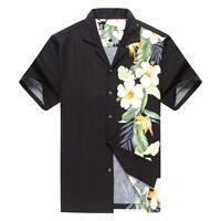 Made in Hawaii Men Hawaiian Shirt Side Bird of Paradise Hibiscus Floral in Black