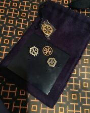NWT Tory Burch Hexagon Logo Earrings In Silver Color w/ Purple Pouch 40% OFF!