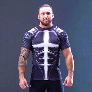 SYMBO T-Shirt Herren RASHGUARD Zouaves thermoaktiv Kompression Sport Fitness