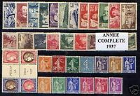 FRANCE STAMP ANNEE COMPLETE 1937 : 38 TIMBRES NEUFS xx TTB / LUXE VALEUR: 998€