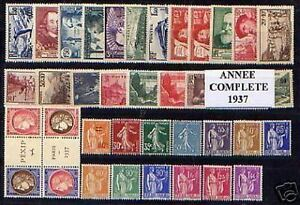 FRANCE STAMP ANNEE COMPLETE 1937 YVERT N° 334 / 371 , 38 TIMBRES NEUFS xx LUXE