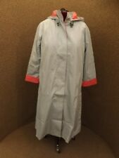 NEW NWT Gray & Pink Long A-Line Hooded Trench Jacket Removable Blanket Lining 16