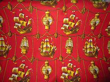 ancien tissu textile ameublement imprimé bateau Marignan vintage 125x102 / 1