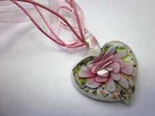 Pretty Pink Glass Floral Heart Pendant