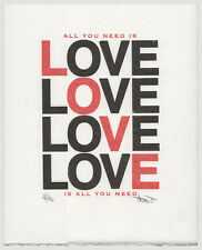 Love poster, hand printed Beatles quote print, All You Need Is Love