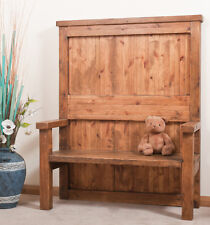 SOLID  RUSTIC SAWN PLANK HIGH BACK BENCH | Hand-waxed | Handmade to Order