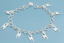 "Adorable Alley Cat Charms Bracelet Sterling Silver 925 Jewelry 7""adjust to 8"""