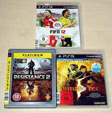 3 PLAYSTATION 3 PS3 SPIELE SAMMLUNG FIFA 12 RESIDENT EVIL 5 GOLD RESISTANCE 2