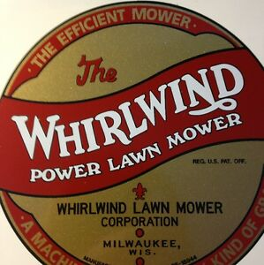 WHIRLWIND Briggs & Stratton Mower decal 1940 large tank end