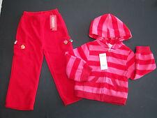 NWT Gymboree Cupcake Cutie 3 3T Red Stripe Fleece Hoodie Zip Jacket & Pants