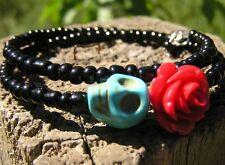 Day of the Dead Bracelet Sugar Skull Wrap Around Mini blue SkuLL red Rose black