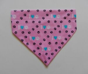 PAWS/BONES/HEARTS ON PINK DOG SCARF/BANDANA--S, M, L