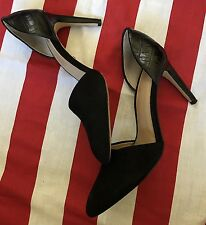 Ann Taylor sz 7M High Heels Shoes Pumps Black Leather/Suede Classic Pointed toe