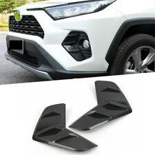 2x Front Fog Light Covers Trim For Toyota Rav4 2019 2020 Carbon Fiber Style
