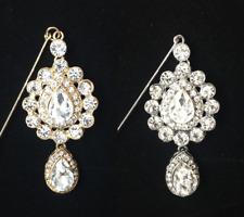 LADIES DIAMANTE DROPLET BROOCH PIN FOR HIJAB SCARF BRIDAL/PARTY/WEDDING