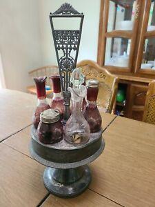 Antique Condiment Caddy Server Red Glass Salt Pepper Oil Vinegar Mustard Ketchup