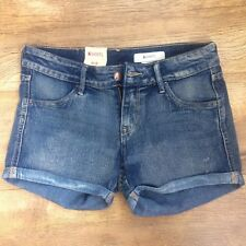 H&M Denim faded roll up Shorts EUR 38/US 8 faux leather tag & front back pockets