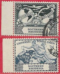 Southern Rhodesia 1949 left marginal set Universal Postal Union sg 68-9 used
