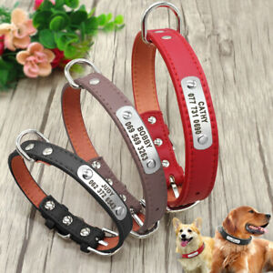 Personalized Dog Collar Pu Leather Custom Pet ID Name Phone Engraved for Free