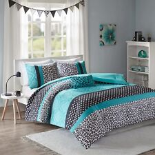MODERN POLKA DOT ZEBRA ANIMAL STRIPE CHEETAH TEAL BLUE PINK AQUA COMFORTER SET