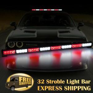 """35"""" 32 LED Traffic Advisor Emergency Hazard Warning Strobe Light Bar Red White"""
