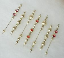 Vtg LONG Mercury Glass Christmas Tree Garlands Silver Bead Icicles Ornaments *@