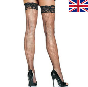 New Black Lace Seamed Fishnet Stockings with Elasticated Floral Band Seam UK