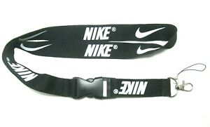 NEW BLACK NIKE LANYARD DETACHABLE KEYCHAIN STRAP BADGE ID HOLDER
