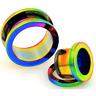 Pair of Rainbow Screw Fit Stainless Steel Ear Gauges Tunnels Plugs