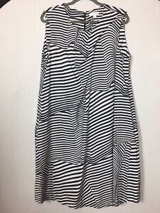 """COS EU 44 US 14 White Dress Blue Abstract Stripes  Pockets Pit To Pit 20"""""""