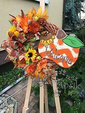 Türkranz, Herbstkranz mit Kürbis, Wanddeko, HANDMADE