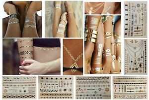 Temporary Tattoos Metallic Gold Flash Tribal Feather Jewellery Pattern Bracelet