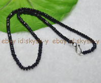 Lot 2x4mm Black Agate Faceted Roundel Gems Beads Necklace Silver Clasp AA 16-28""