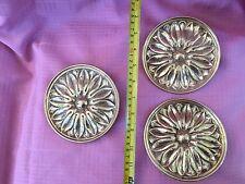 Vintage Brass Curtain Tie Back Holder Flower Medallion Round Made in Portugal