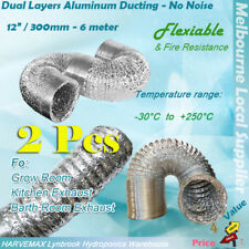 "2x 12""/315mm Flexible Fire Resistance Aluminum Duct Ventilation Fan Vent Ducting"