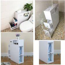 Slimline Organiser Bathroom Cupboard Cabinet White Wooden Toilet Roll Storage UK