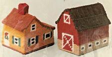 Vintage Columbia-Minerva Needlepoint Idea Kit Red Barn & Gold House