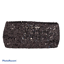 "💕 VICTORIA SECRET Black Sequin Clutch Purse Hand Bag 11x5x3"" EUC"