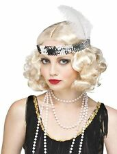 Ladies 1920's Flirty Flapper Blonde Wig & Headband Fancy Dress Gangsters Moll