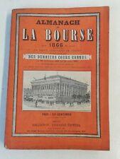 Ancien Livre Almanach de la bourse Paris 1866 Paris collignon librairie