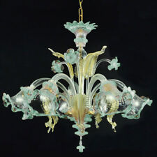 Murano chandelier Ca'Venier ceilling 5 arms light blue crystal gold