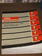 1992 PONTIAC BONNEVILLE SE GM FACTORY REPAIR SERVICE MANUAL