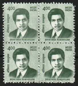 India 2015-20 Definitive Series - Srinivasa Ramanujan block of 4 MNH