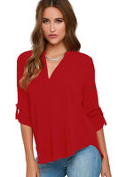 Ladies Red V Neck Polyester Top Long Sleeve Loose Casual T Shirt Blouse 8-18