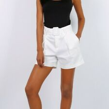 Loose Ladies Summer Shorts with High Waist Incl. Belt White #H1797