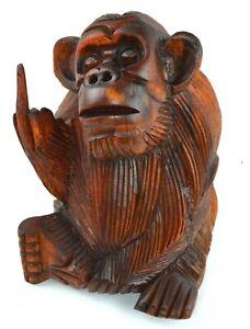 6 Inch Rude Monkey Flipping The Bird Middle Finger Wooden Statue WorldBazzar