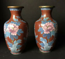 Pair of Antique Chinese Bird Flowers Red Cloisonne Enamel Vases 8""