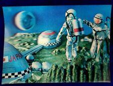 VINTAGE Space Colony Cosmonaut Japan 3D postcard moon astronaut